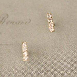 14K Solid Gold Dainty Stick Earrings